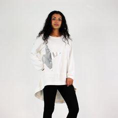 PinkCad White Longer Back Sweat-Shirt With Silver Star Print www.pinkcadillac.co.uk
