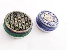 2 Sacred Geometry Tins Small Rapé Snuff Weed Tin. Container