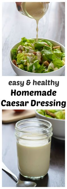 An easy and healthy recipe for homemade Caesar dressing made with Greek yogurt. All the flavor of classic Caesar dressing, without the guilt! Healthy Recipes, Healthy Snacks, Healthy Eating, Cooking Recipes, Blender Recipes, Healthy Drinks, Salad Dressing Recipes, Salad Recipes, Gluten Free Recipes