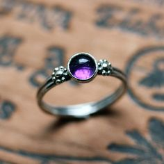 Purple amethyst ring flower tiny silver daisy by metalicious, $72.00