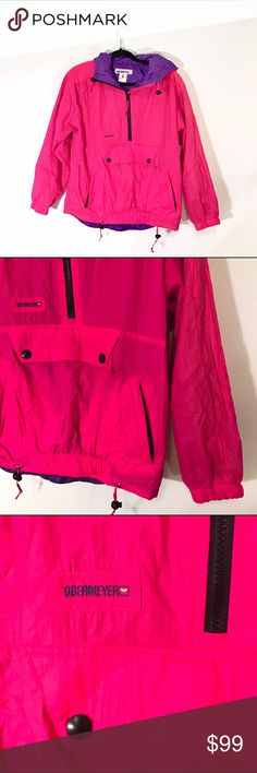"""OBERMEYER HOT PINK VINTAGE JACKET #126 OBERMEYER, Size 6 VINTAGE jacket, pink and purple. Shoulder pads.  CONDITION: EUC No issues.  CHEST: 46"""" WAIST: 42"""" LENGTH: 24"""" INSEAM:  *All measurements taken while item is laid flat (doubled when necessary) and measured across the front  MATERIAL: 100% Nylon shell, 100% Polyester lining.  STRETCH: none INSTAGRAM @ORNAMENTALSTONE 🚫Trading Obermeyer Jackets & Coats"""