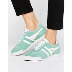 Gola Harrier Pastel Mint Sneakers ($81) ❤ liked on Polyvore featuring shoes, sneakers, green, cushioned shoes, green sneakers, green suede shoes, suede sneakers and mint green sneakers