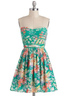 Lush with Beauty Dress - Green, Multi, Floral, Casual, Daytime Party, A-line, Strapless, Spaghetti Straps, Spring, Sweetheart, Beach/Resort, Mid-length, Summer
