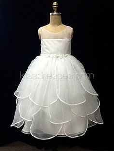 Tulip style skirt organza Flower Girl Dress with bow$67.00