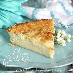 """With a Grateful Prayer and a Thankful Heart: Impossible Coconut Custard Pie. mix all the ingredients together & the crust """"magically"""" goes to the bottom during baking! Coconut Desserts, Coconut Recipes, Just Desserts, Delicious Desserts, Yummy Food, Bisquick Recipes, Pie Recipes, Sweet Recipes, Dessert Recipes"""