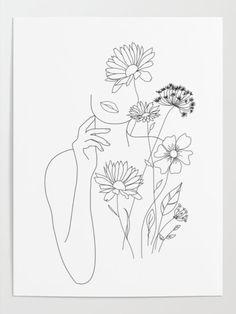 Line Art Flowers, Flower Art, Flower Line Drawings, Art Painting Tools, Outline Art, Outline Drawings, Line Art Tattoos, Tattoo Art, Abstract Line Art