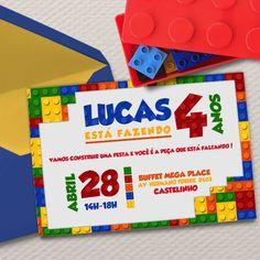 Convite Festa Lego Digital.    *Kit lego vendido separadamente    Bora pra uma leiturinha? A gente explica direitinho aí embaixo.... Xô preguiça!    Você compra o arquivo digital e imprime quantas vezes quiser, em casa, gráfica ou aonde desejar. (Clap, Clap, Clap!)  A grande vantagem do formato d... Lego Themed Party, Lego Birthday Party, First Birthday Parties, First Birthdays, Party Themes, Lego Super Mario, Legos, Lego Invitations, Lego Jurassic