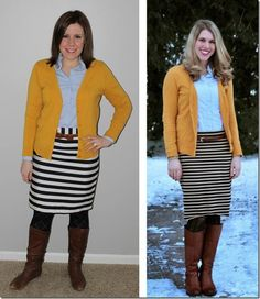 Style Swap: Mustard cardigan, jeweled oxford, striped skirt, cognac belt and boots