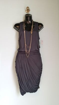 Club Monaco gray dress, size 4, $17 necklace, $14 + find much more at www.thexchangeclothing.com