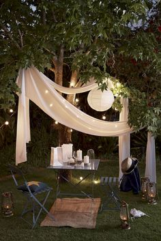 Simple Lighting Ideas for Beautify Your Backyard is part of - Simple Lighting Ideas, No matter what size outdoor space you have, the strategic addition of lighting can turn your backyard into a cozy outdoor Backyard Lighting, Outdoor Lighting, Lighting Ideas, House Lighting, Diy Garden Furniture, Furniture Ideas, Rooftop Garden, Romantic Dinners, Fairy Lights