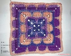 Crochet Work Square Motif Making Explained 14 Crochet Squares, Crochet Granny, Crochet Motif, Afghan Crochet, Granny Squares, Foundation Piecing, Crochet Bebe, Bohemian Rug, Needlework