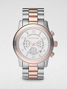Michael Kors - Shiny Silver and Rose Gold Tone Topring Watch -