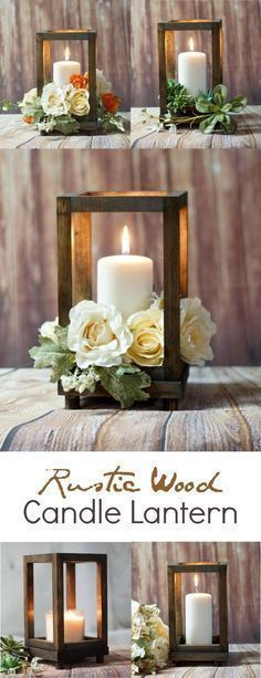Diy wedding centerpieces 771734086121342736 - Rustic Wood Candle Lantern – perfect for a rustic farmhouse wedding or rustic farmhouse home decor! Diy Centerpieces, Table Decorations, Centerpiece Flowers, Wood Wedding Centerpieces, Rustic Lantern Centerpieces, Wedding Lanterns, Lanterns For Weddings, Succulent Centerpieces, Deco Champetre