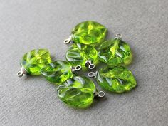 Lampwork Leaves Set 7 psc  Leaf Lampwork by JewelryBeadsByKatie