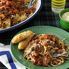"""Beef Bolognese with Linguine ~ """"After much research, tasting and tweaking, I finally came up with this recipe, based on a dish from an Italian restaurant where I worked. It's perfect for feeding a house full of holiday guests the Sunday before or after Christmas."""" —Christine Wendland, Browns Mills, New Jersey"""