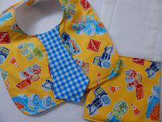tie bib and burp cloth set **** bib and burp cloth set for boys ****  baby bib & burp cloth by SnazzyBoyClothing on Etsy