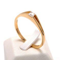 Μονόπετρο δαχτυλίδι  χρυσό Κ14 με ζιργκόν 8504
