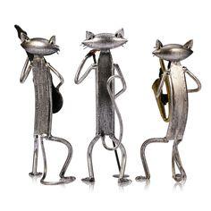 Tooarts металлическая фигурка игральную Гитары/Саксофоны/Поющий Кот фигурка статьи обеспечения craft подарок для украшения дома