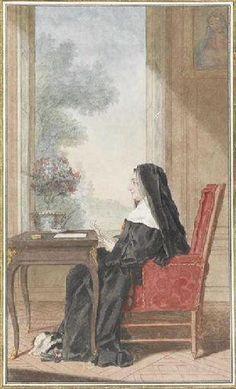 Portrait de l'abbesse de Saint-Rémi, assise de profil, dans un fauteuil, tenant une lettre, portant ses habits religieux, ayant son chien de compagnie aux pieds, face à une table contenant un port de fleurs, dans un salon, près de Villers-Cotterets, vers 1760 Louis Carrogis dit Carmontelle