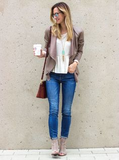 Pair a suede shootie with a suede-accented draped jacket for an instantly fall look!