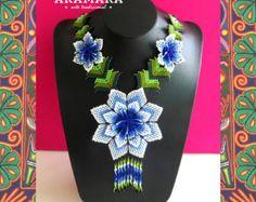 Mexican Huichol Loom Beaded Star necklace COM-0004 by Aramara