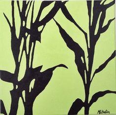 Bamboo Original Oil Painting  Floral by desertvalleystudio $74