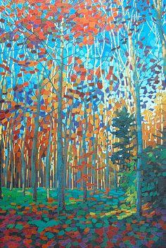 "Beautiful paintings from UK based painter Paul Burgess at http://www.paulburgessart.com/ ""Autumn Gold"", oil on canvas, 32"" x 47"", ©Paul Burgess"