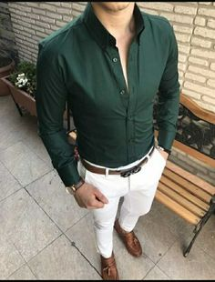 This outfit consist of shirt, trouser, belt and shoes.   Shirt is slimfit fullsleeve formal dark green in colour. Trouser is straight white with brown leather shoes and belt