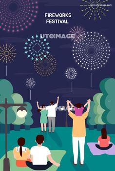 다양한 축제행사 05 S190516, CRUSHON, 일러스트, 크러쉬온, 계절, 여름축제, 행사, 축제, 풍경, 자연, 화사한, 라이프, 시즌, 식물, 휴가, 캐릭터, 사람, 3인, 행복, 즐거움, 페스티벌, 단체, 그룹, 남자, 여자, 커플, 가족, 이벤트, 나무, 생활, 웹소스, 소스, 배너, 팝업, 포스터, 여름, 불꽃놀이, 밤, 가로등, 공원, 숲, 불꽃, 폭죽, 효과, 야간, 여행 Poster Ads, Movie Posters, Fireworks Festival, New Years Poster, Graphic Art, Typography, Collage, Layout, Animation