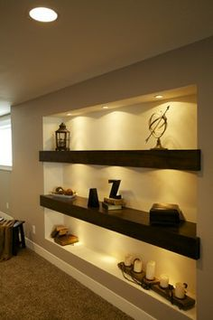 Massage Room Decor, Dining Room Centerpiece, Pooja Room Door Design, Modern Floating Shelves, Niche Design, Hallway Designs, Living Room Shelves, House Front Design, Elegant Homes