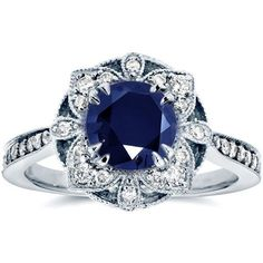 Antique Floral Sapphire and Diamond Engagement Ring 1 1/2 Carat (ctw)... found on Polyvore featuring jewelry, rings, sapphire ring, 14k white gold ring, antique sapphire ring, round cut engagement rings and vintage engagement rings