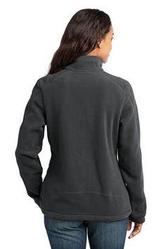 Eddie Bauer - Ladies Wind Resistant Full-Zip Fleece Jacket Style EB231 Iron Gate Back