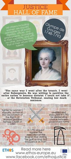 Have you heard of Olympe de Gouges? She was a justice heroine in her own right, making a huge impact on women's equality as we know it today. Check out her portrait in our Justice Hall of Fame!