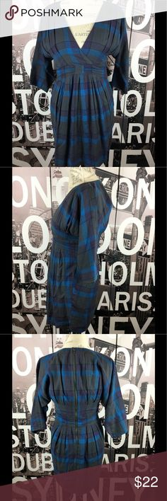 Silence + Noise blue black plaid dress Excellent condition. Super soft and flattering. Size 4. Length 33 Bust 15 Waist 14.5 Hips 19.5 Arms 18 silence + noise Dresses