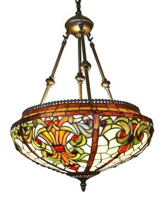 Victorian Reverse Helmet Tiffany Style Hanging Lamp