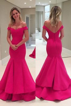 Off the Shoulder Prom Dress, Long Prom Dresses, Fuchsia Evening Gowns, Mermaid Party Dresses, Satin Formal Dresses