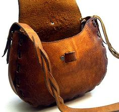 Leather handmade hunting cartridge bag vintage