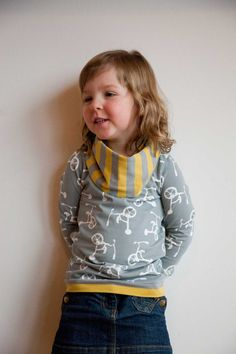 New Nosh fabrics!, I gotthe opportunity to try some great fabrics from the new Nosh collection! Since Nore and Lise are bicycle champions, I choose this cute fabric co...  #Sweater