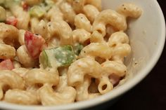 Summer Pasta Salad: Pasta, red & green peppers, zesty italian and caeser dressings