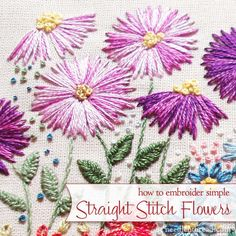 Straight Stitch in Hand Embroidery: Flowers -- Found on website Needle 'n Thread. Brazilian Embroidery Stitches, Learn Embroidery, Hand Embroidery Stitches, Silk Ribbon Embroidery, Embroidery Techniques, Embroidery Applique, Cross Stitch Embroidery, Simple Embroidery, Hand Embroidery Flowers