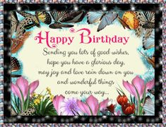 Say happy birthday with this sweet floral butterfly birthday card. Free online Butterfly Birthday Wishes ecards on Birthday Birthday Greetings Images, Birthday Wishes Sms, Happy Birthday Messages, Happy Birthday Images, Happy Birthday Penguin, Happy Birthday Niece, Birthday Sparklers, Birthday Fireworks, Beautiful Birthday Messages