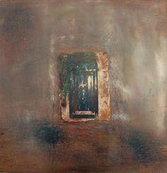 Mixed media photo with cold wax - Venice door