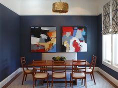 Dark Blue with Abstract Furnishings - ELLEDecor.com