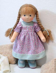 Куколка для Катерины, 34 см - бледно-сиреневый,вальдорфская кукла,вальдорфская игрушка