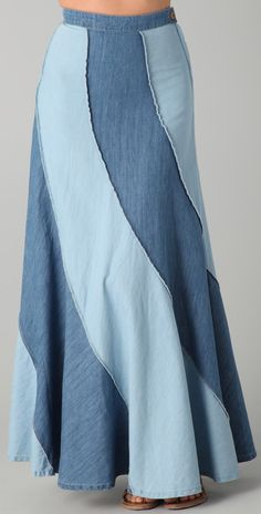 Free People Contrast Denim Maxi Skirt   SHOPBOP