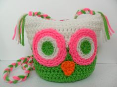 Owl Shoulder Bag  Spring Green Pretty n Pink and by LilacsLovables, $20.00