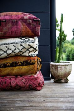Floor Cushions made from vintage moroccan rug Moroccan Floor Cushions, Large Floor Cushions, Boho Cushions, Outdoor Floor Cushions, Bohemian Pillows, Moroccan Decor, Moroccan Rugs, Moroccan Style, My New Room