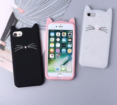 Cute Silicone Cartoon Cat Pink Black Glitter Soft Phone Case Cover Coque Fundas For iPhone 7 6 5 8 X(China) Iphone 7 Plus, Iphone 8, Coque Iphone 6, Iphone Cases, Cute Cases, Cute Phone Cases, Iphone Price, Walpaper Iphone, Glitter Phone Cases