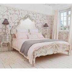 The French Bedroom's Sylvia Silver Luxury Bed for the ultimate in luxury, elegance and romance!