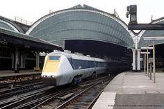 Menacing British Rail APT-E (Advanced Passenger Train Experimental) gas-turbine runs through York station - 11/06/1976.